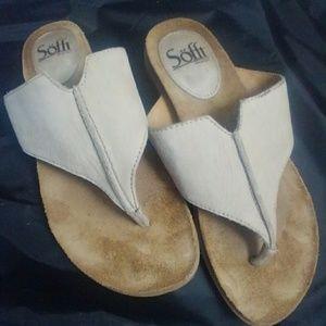6M Sofft Thong Sandals Leather Cork Flip Flops